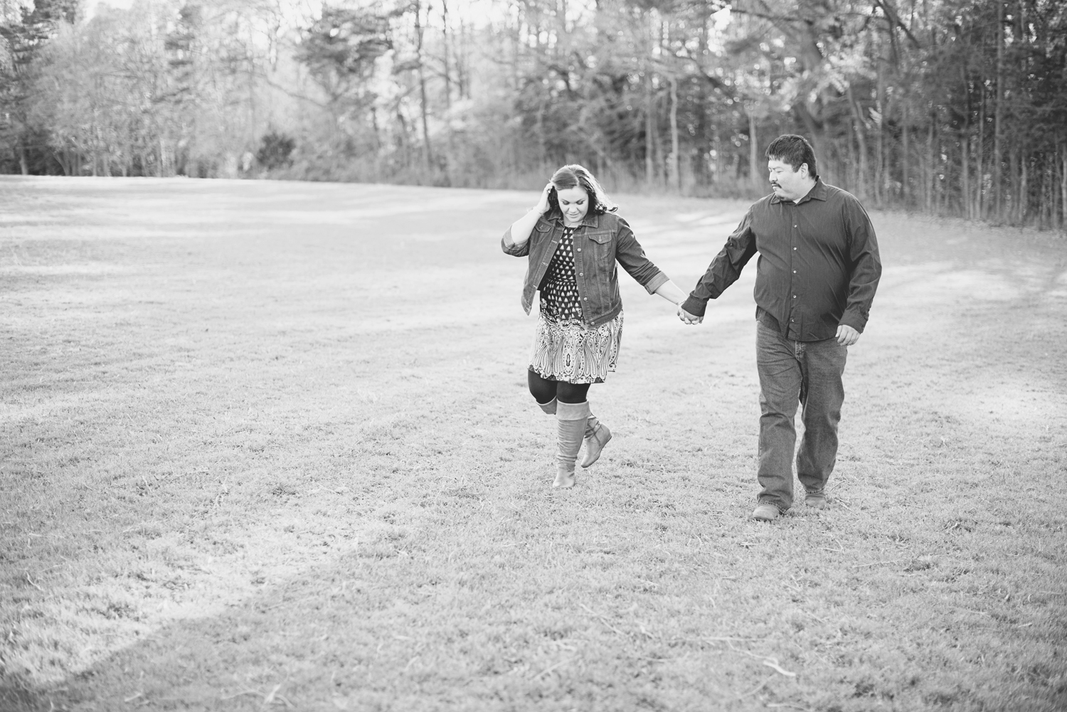 Spring engagement session at golden hour | Coral and navy dress | Black and white