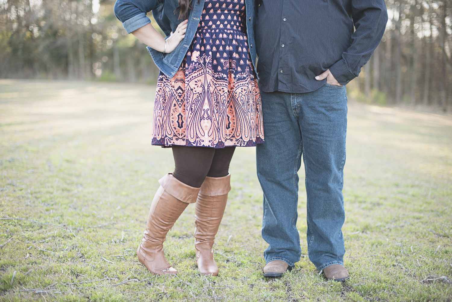 Coral and navy dress | Fall brown boots | Engagement session outfit idea