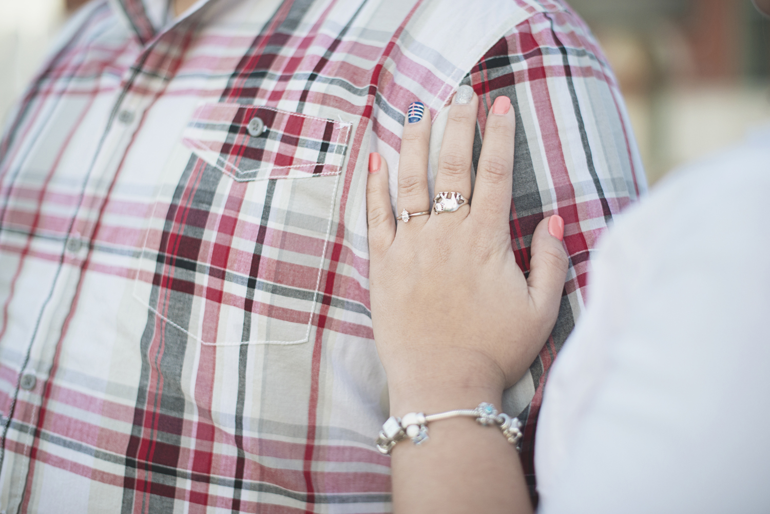 Red plaid and etsy jewelry | Engagement session coral and navy