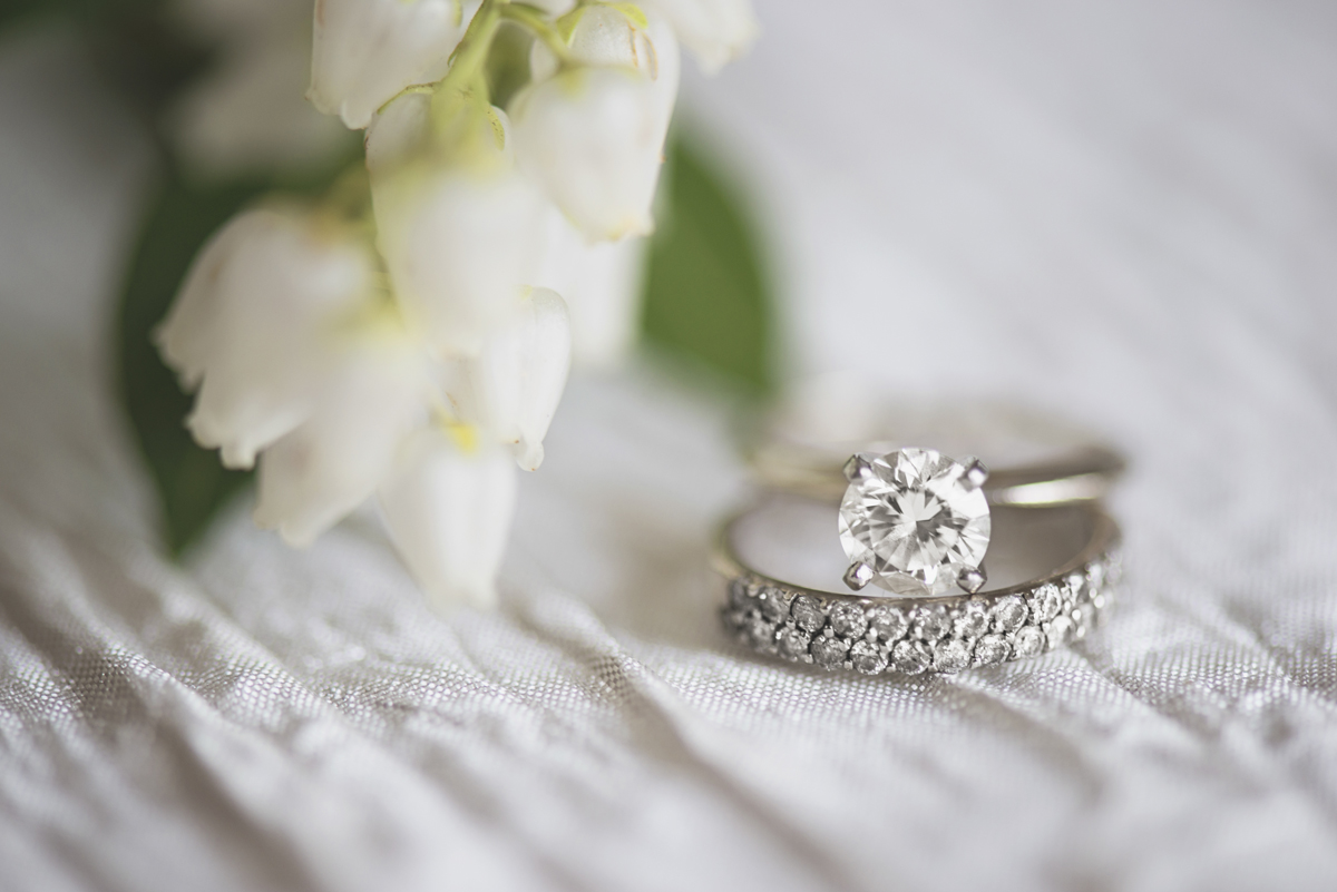 Wedding ring shot with white flowers | Macro photography