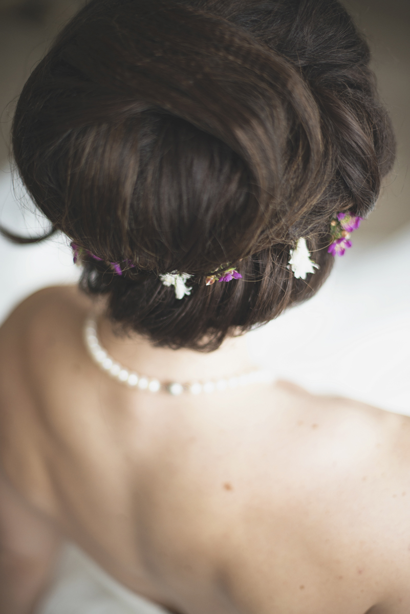 Purple and white floral crown | Wedding updo