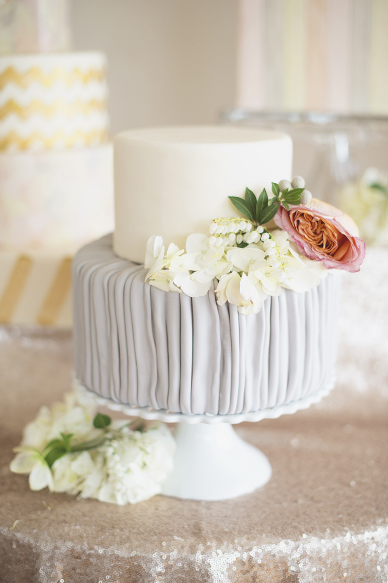 Gray and white wedding cake