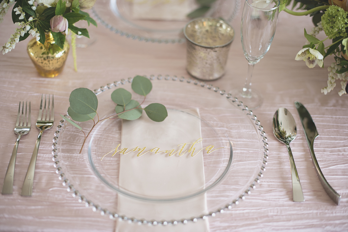 Gold and blush wedding place settings