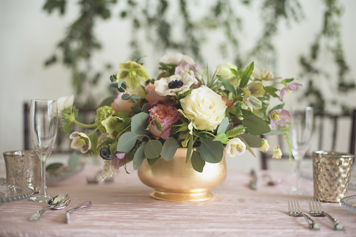 Spring wedding floral centerpiece with anenomes