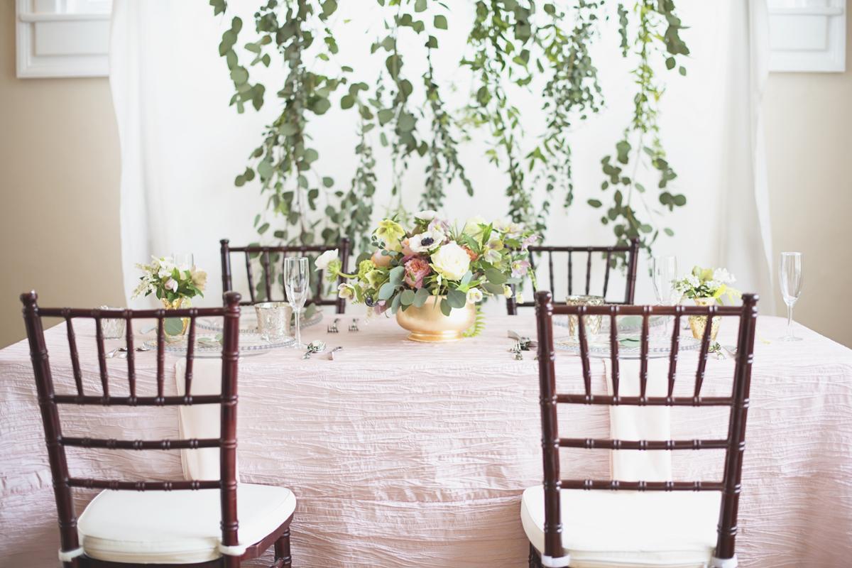 Blush pink and gold wedding details
