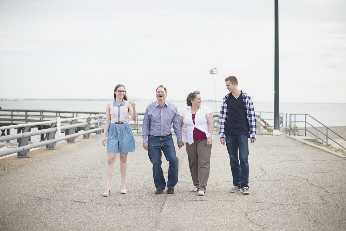 Family session on the James River   Family of four poses