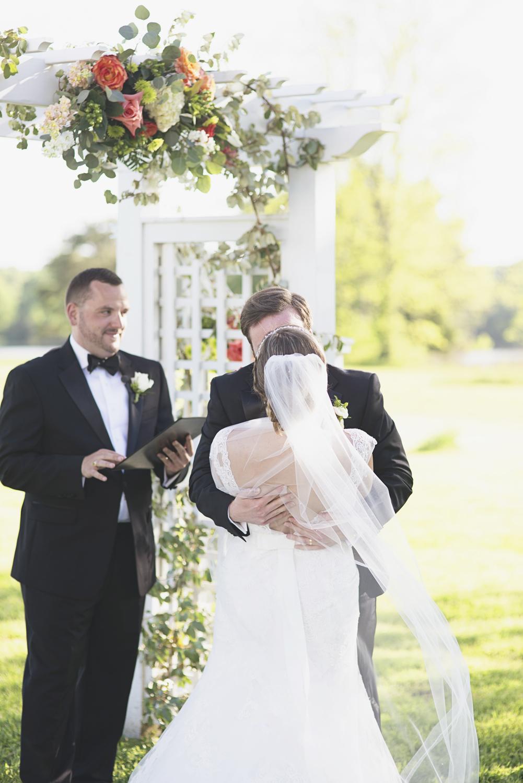Inn at Warner Hall Wedding P  hotography | Bride & groom first kiss