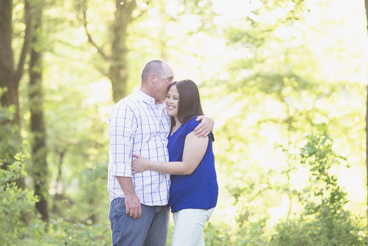 Windsor Castle Park Engagement Session in Smithfield, Virginia | Plaid blue outfit
