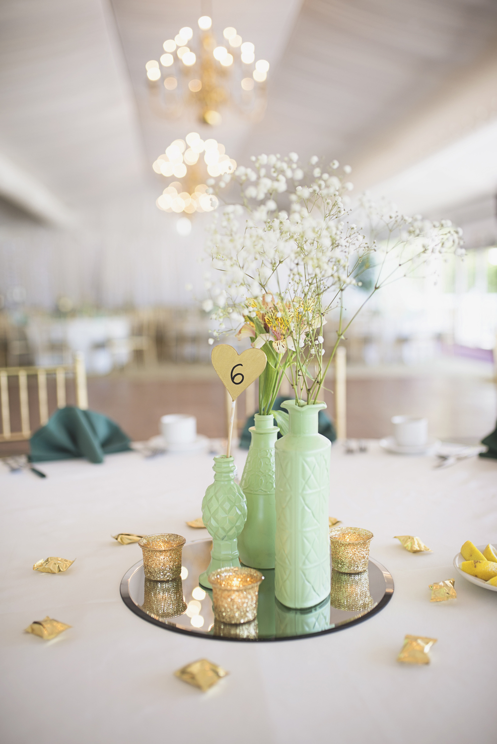 Ford's Colony Country Club in Williamsburg, Virginia | Mint green & gold wedding Reception