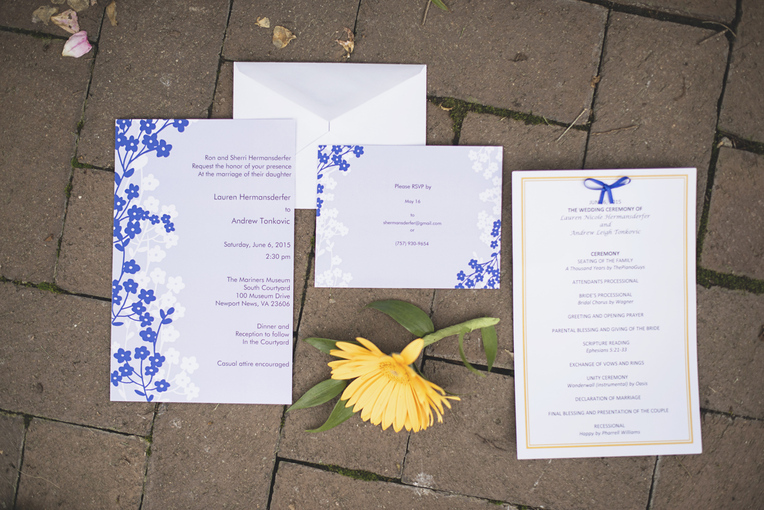 Mariners Museum Wedding | Newport News, Virginia |  Royal blue and yellow wedding invitations