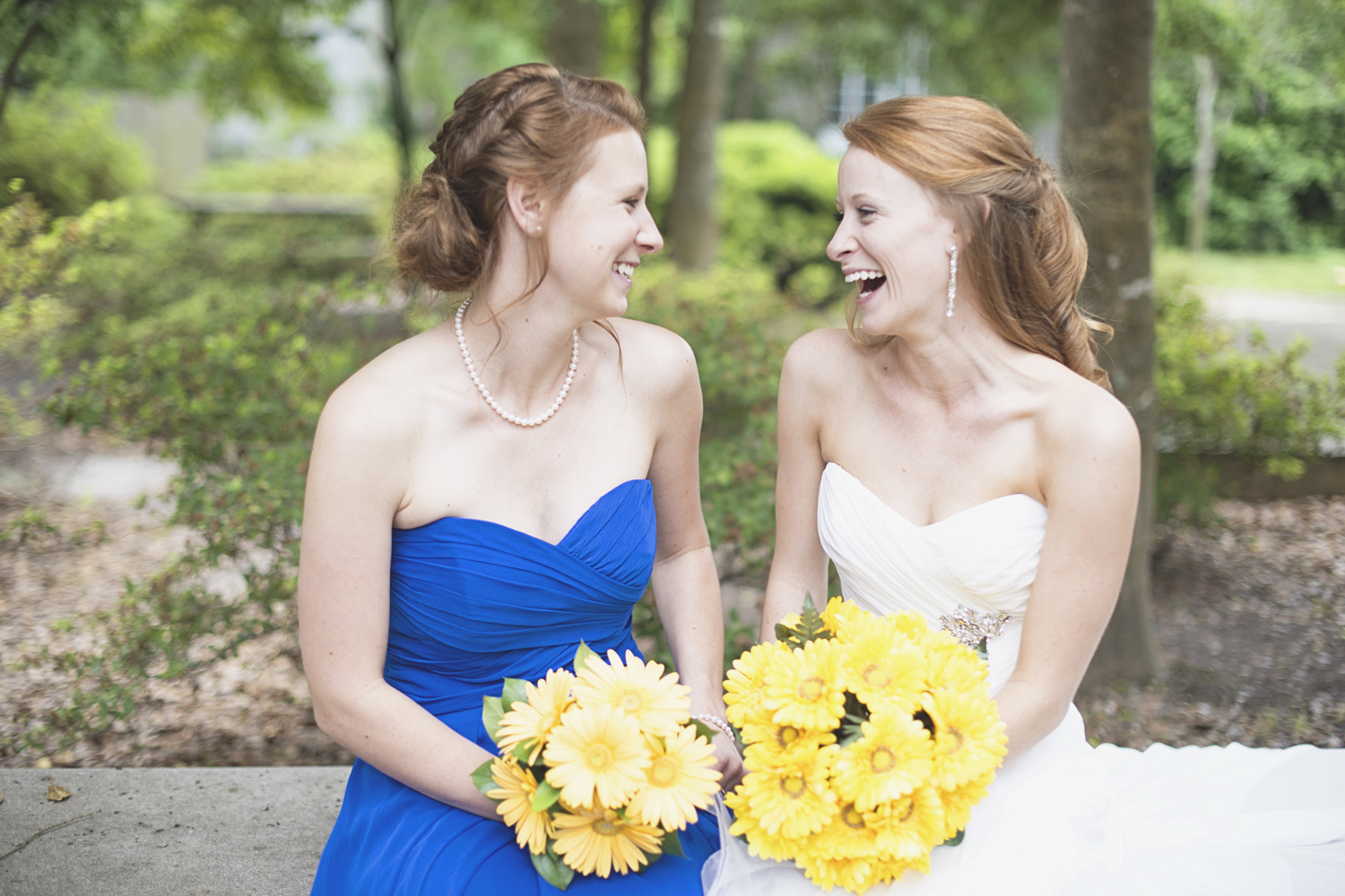 Mariners Museum Wedding | Newport News, Virginia |  Royal blue and yellow daisy bridal party portraits