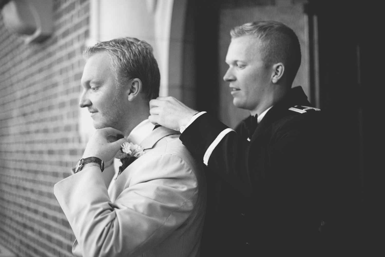 Langley Chapel Air Force Military Wedding | Hampton, Virginia | Groomsmen getting ready