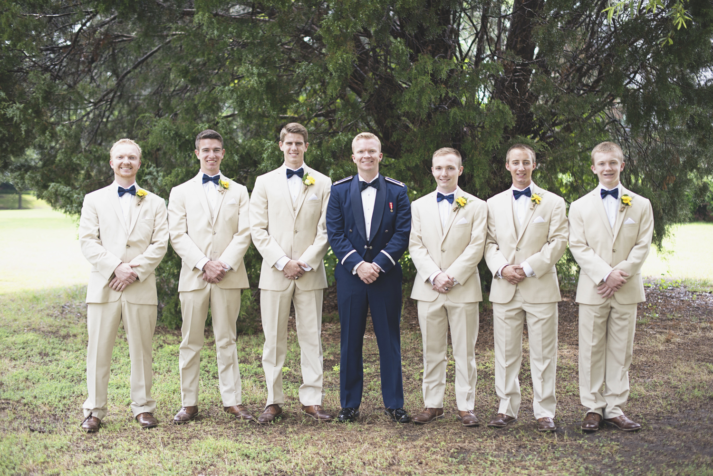 Langley Chapel Air Force Military Wedding | Hampton, Virginia | Tan, khaki, and navy groomsmen portraits