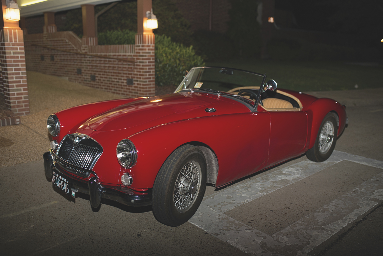 Langley Chapel Air Force Military Wedding | Hampton, Virginia | MG Vintage Red Getaway Car