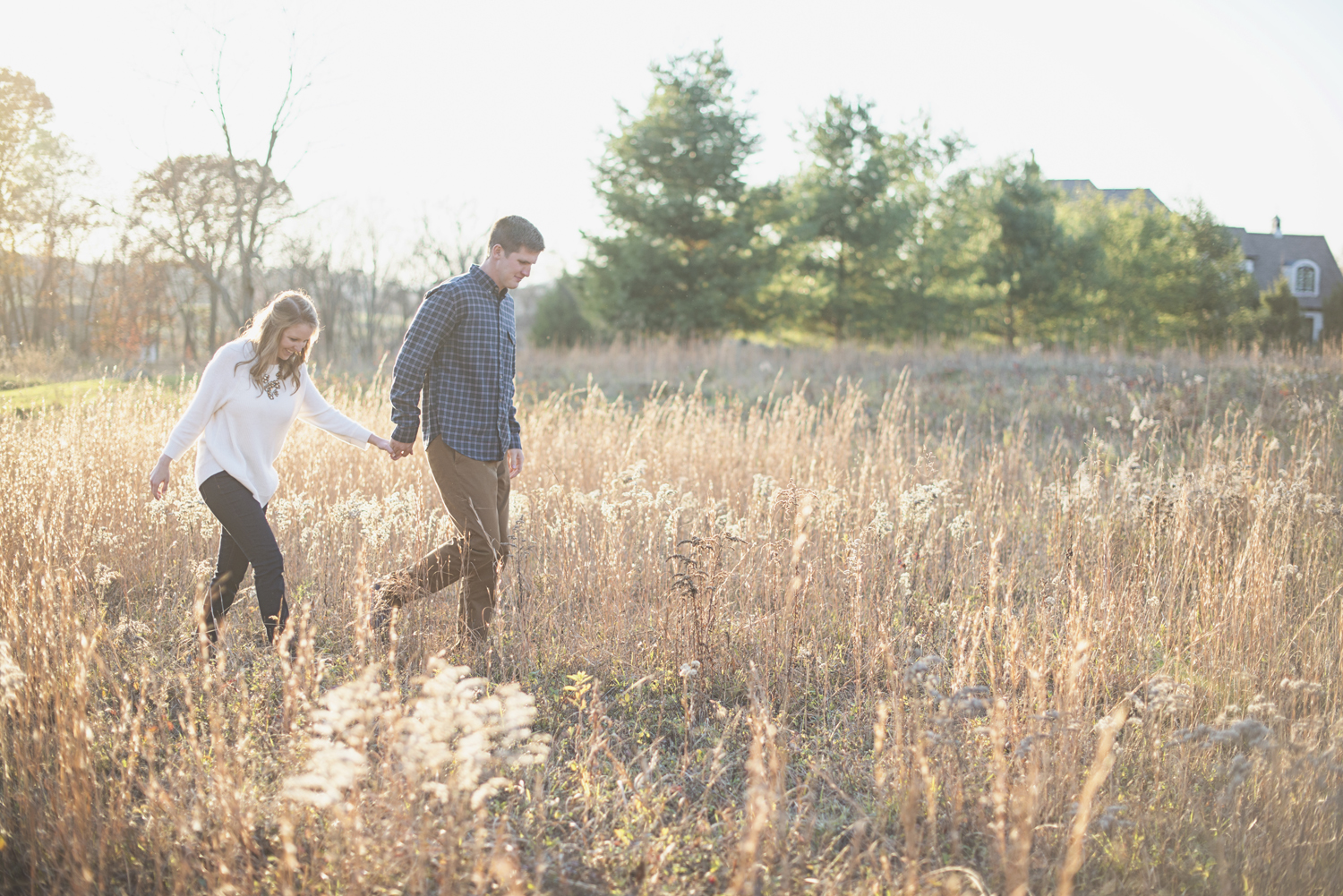 Destination Northern Virginia Engagement Session   Casual J Crew engagement pictures in field with golden light