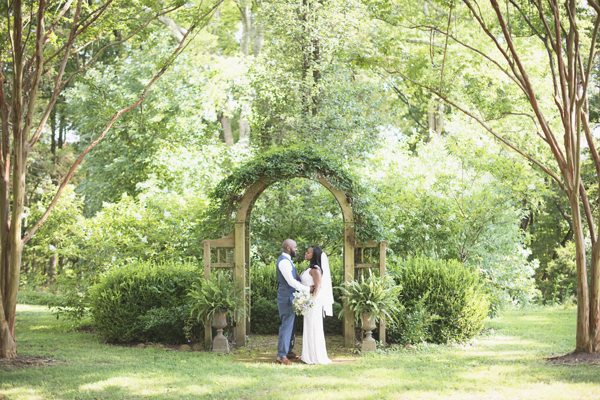 Elegant Lavender Plantation Elopement | Greenery wedding arch