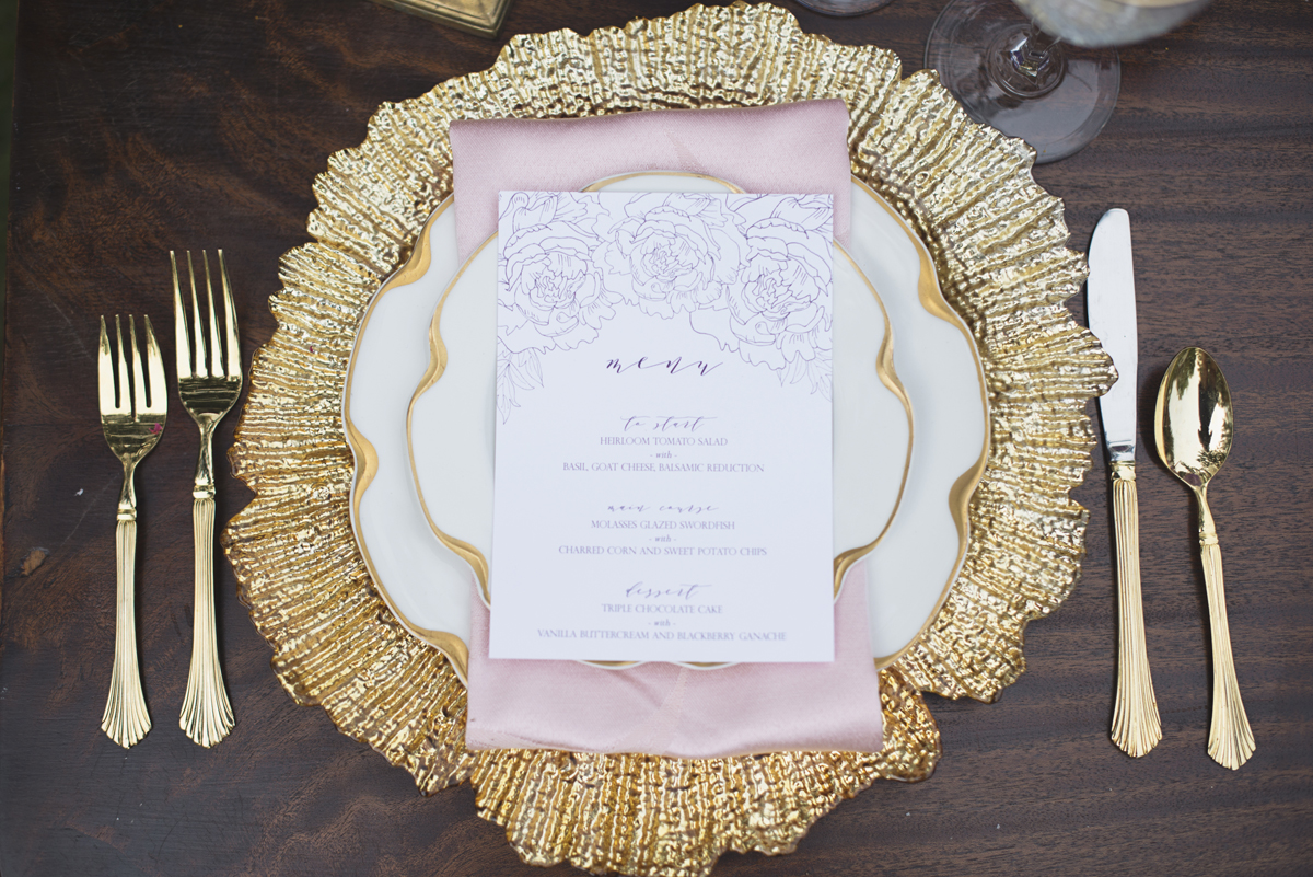 Elegant Lavender Plantation Elopement | Lavender, white, blush, and gold place setting