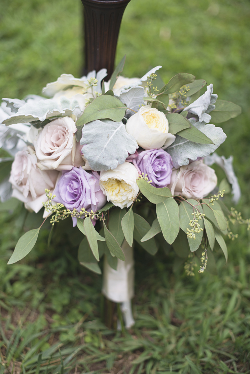 Elegant Lavender Plantation Elopement | Lush green, lavender, and blush rose bridal bouquet with eucalyptus leaves