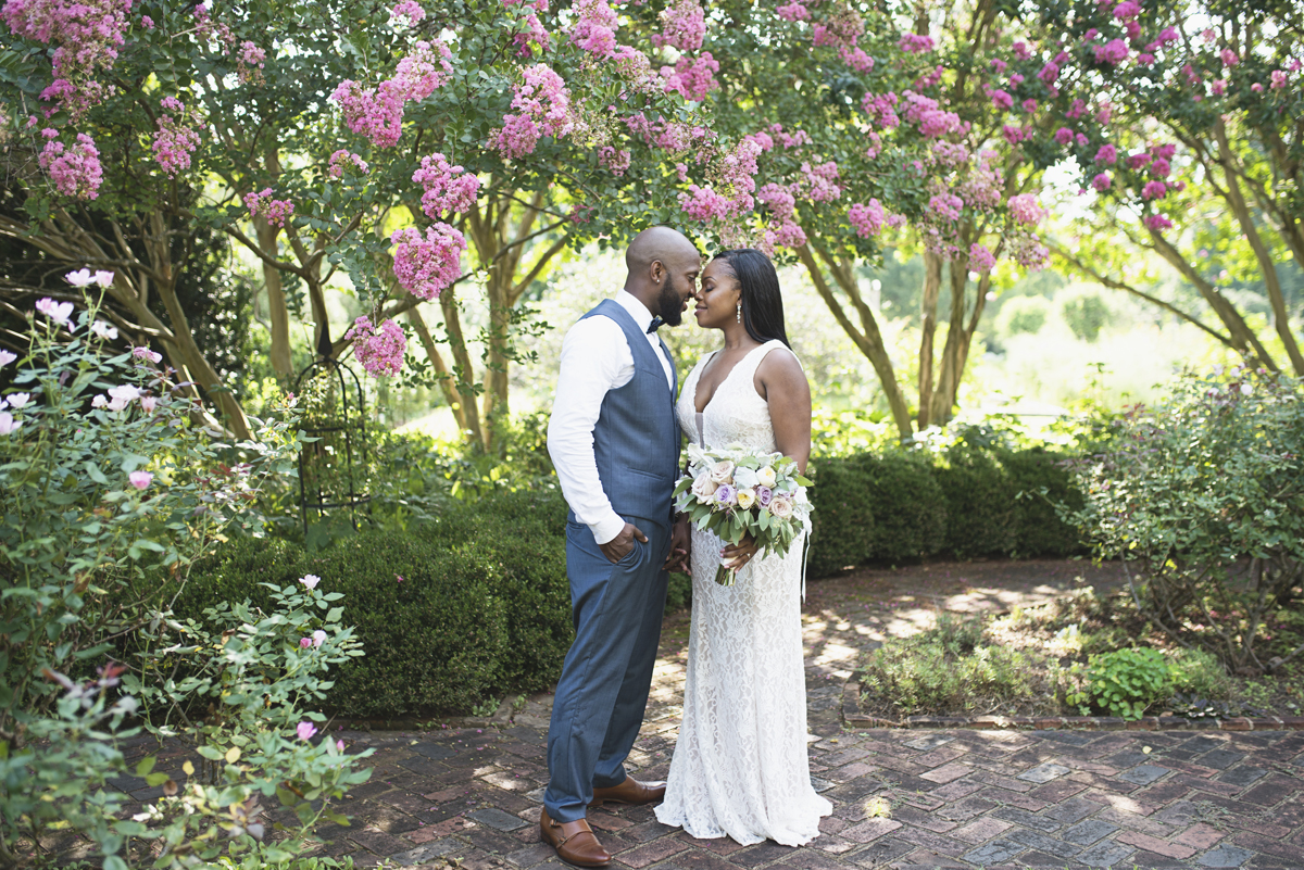 Tuckahoe Plantation Lavender Styled Elopement | Bride + groom portraits
