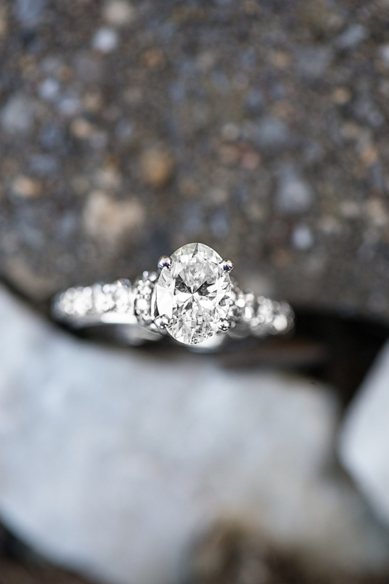 White Gold Engagement Ring on Rocks