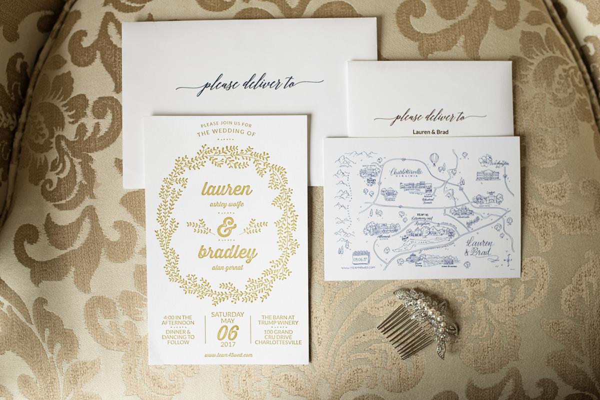 Albemarle Estate at Trump Winery Wedding   Gold and White Wedding Invitations