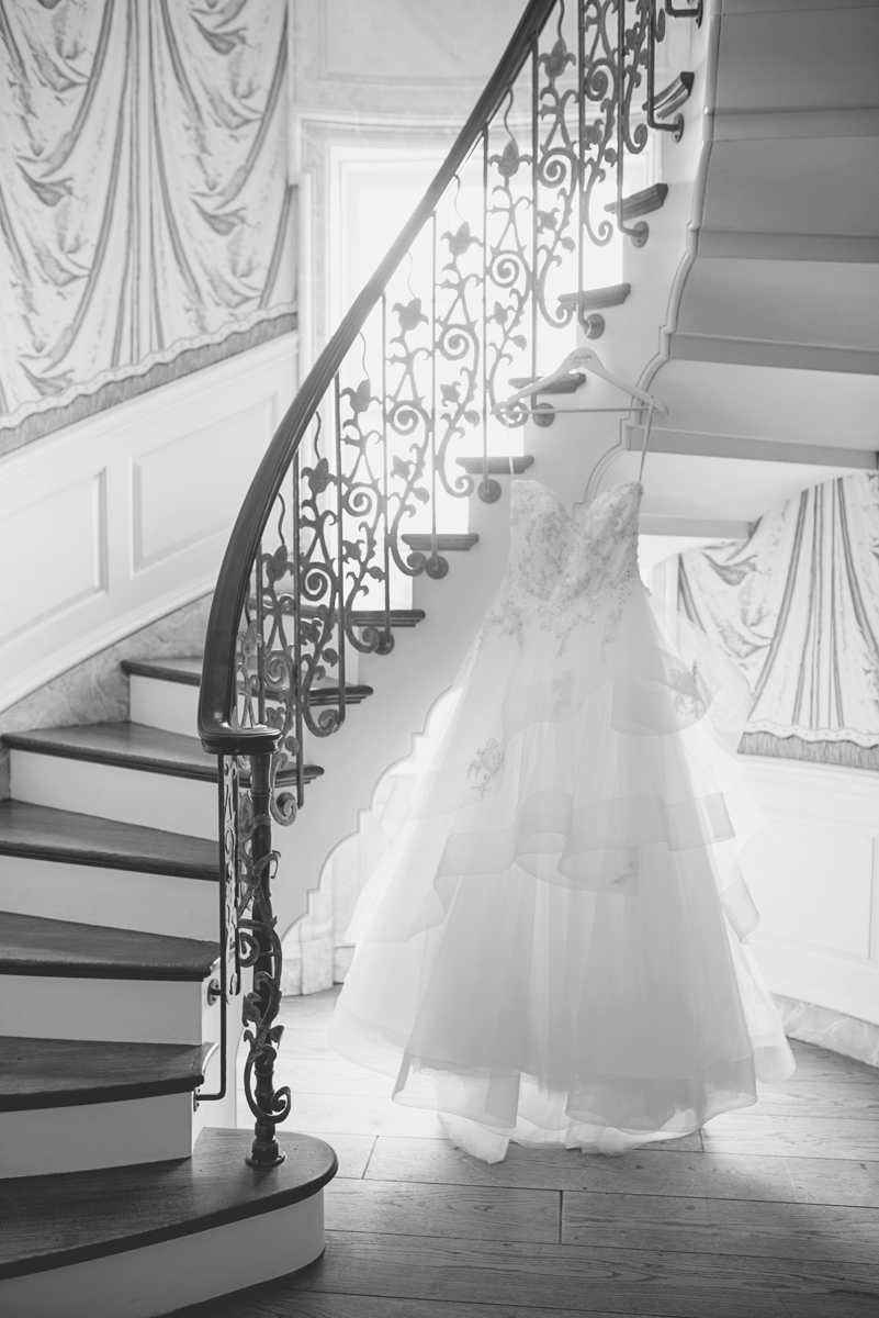 Albemarle Estate at Trump Winery Wedding   Wedding Dress on a Staircase