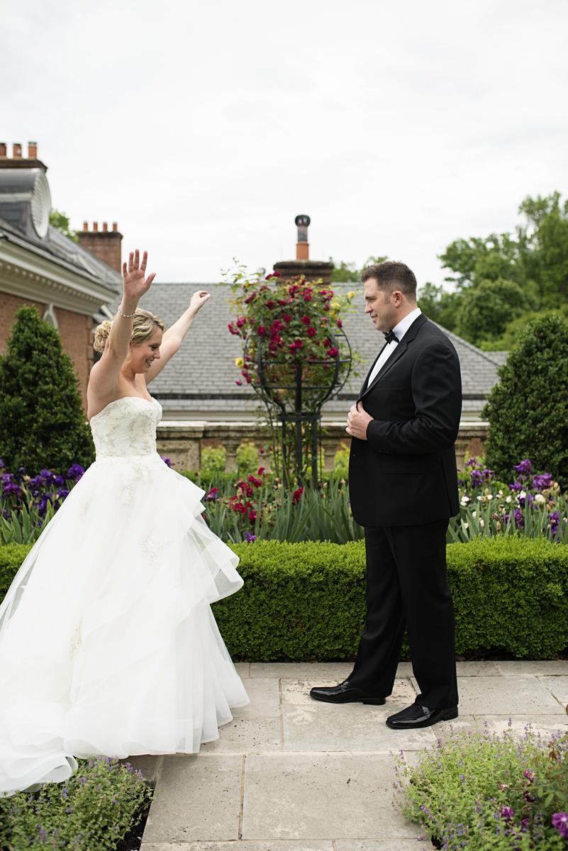 Albemarle Estate at Trump Winery Wedding   Bride and Groom First Look