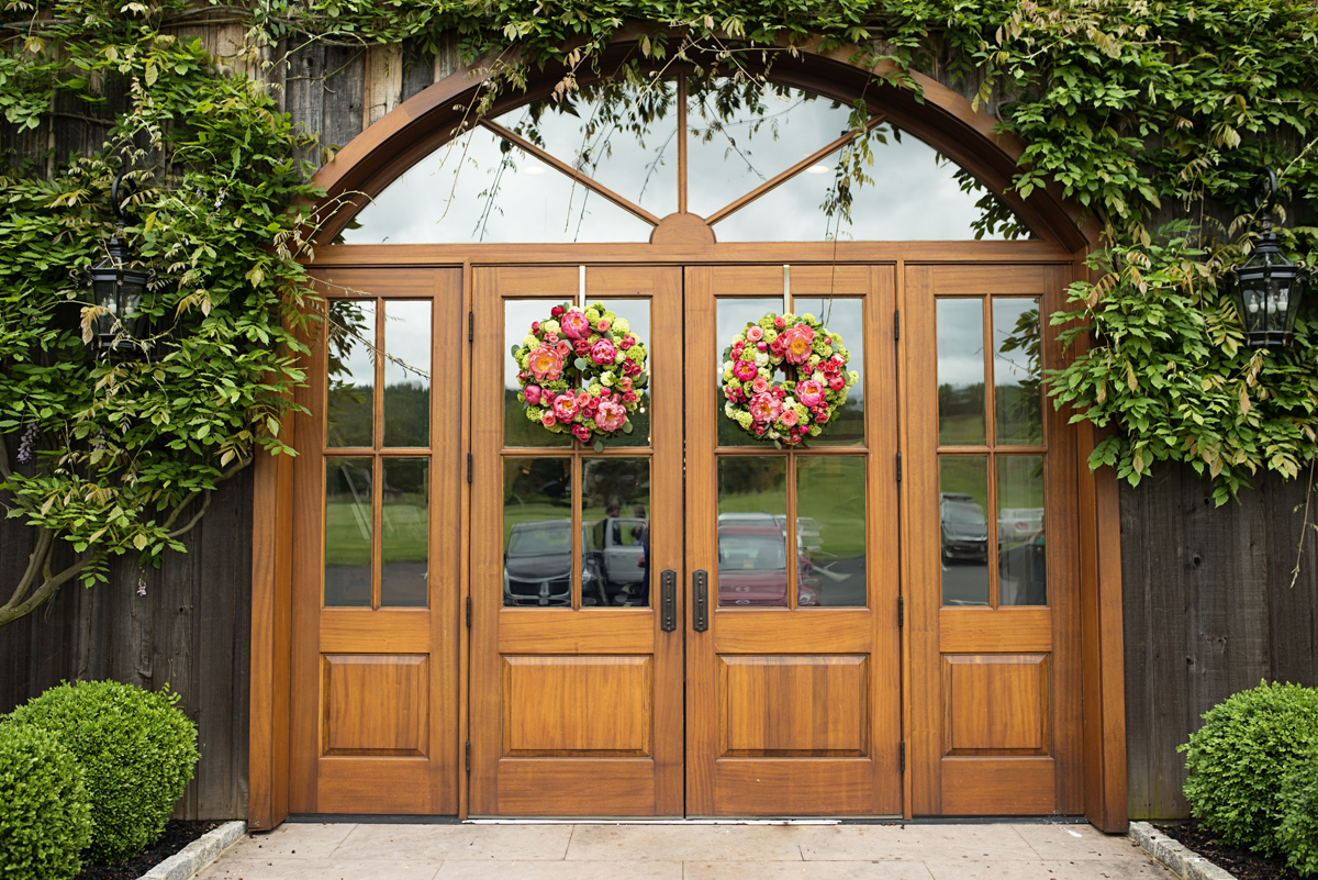 Albemarle Estate at Trump Winery Wedding   Flower Wreath Barn Doors