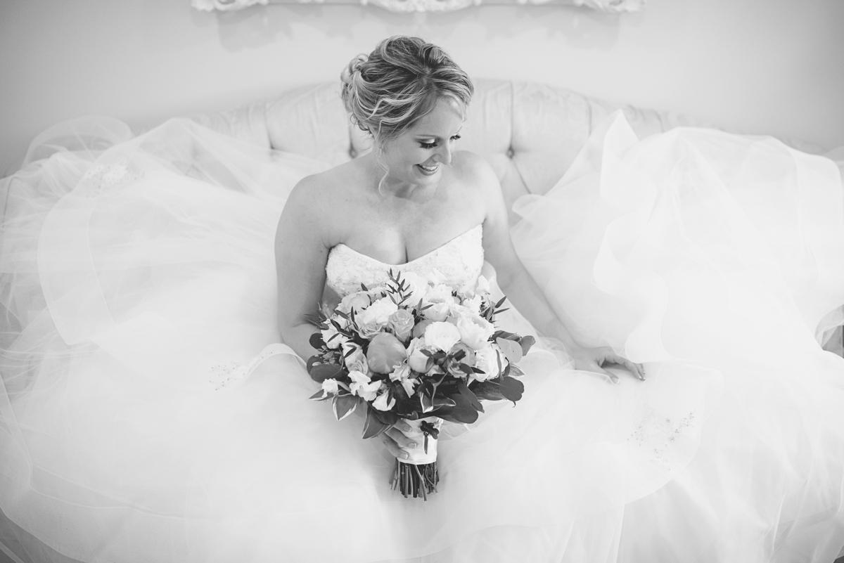 Albemarle Estate at Trump Winery Wedding   Black and white bridal portrait
