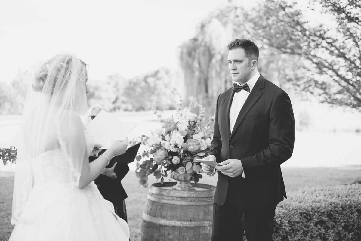 Albemarle Estate at Trump Winery Wedding   Groom tearing up at wedding