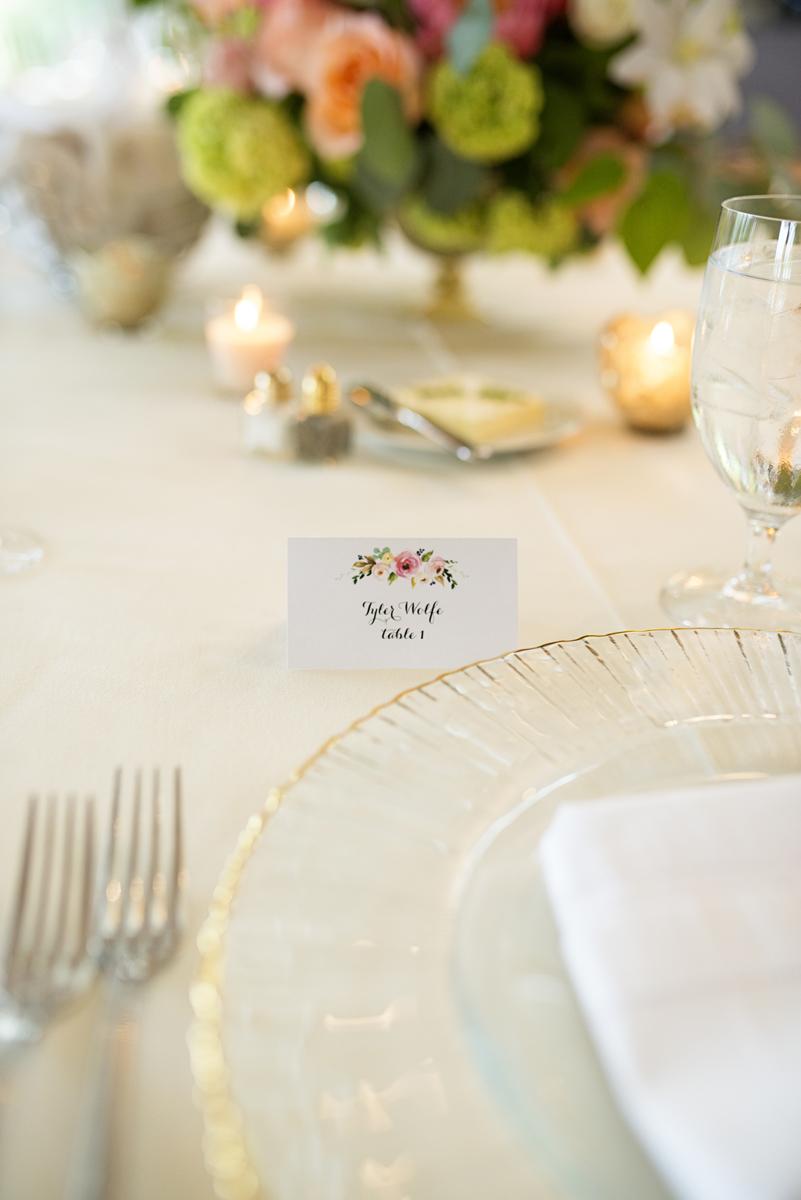Albemarle Estate at Trump Winery Wedding   Calligraphy Floral Wedding Name Cards