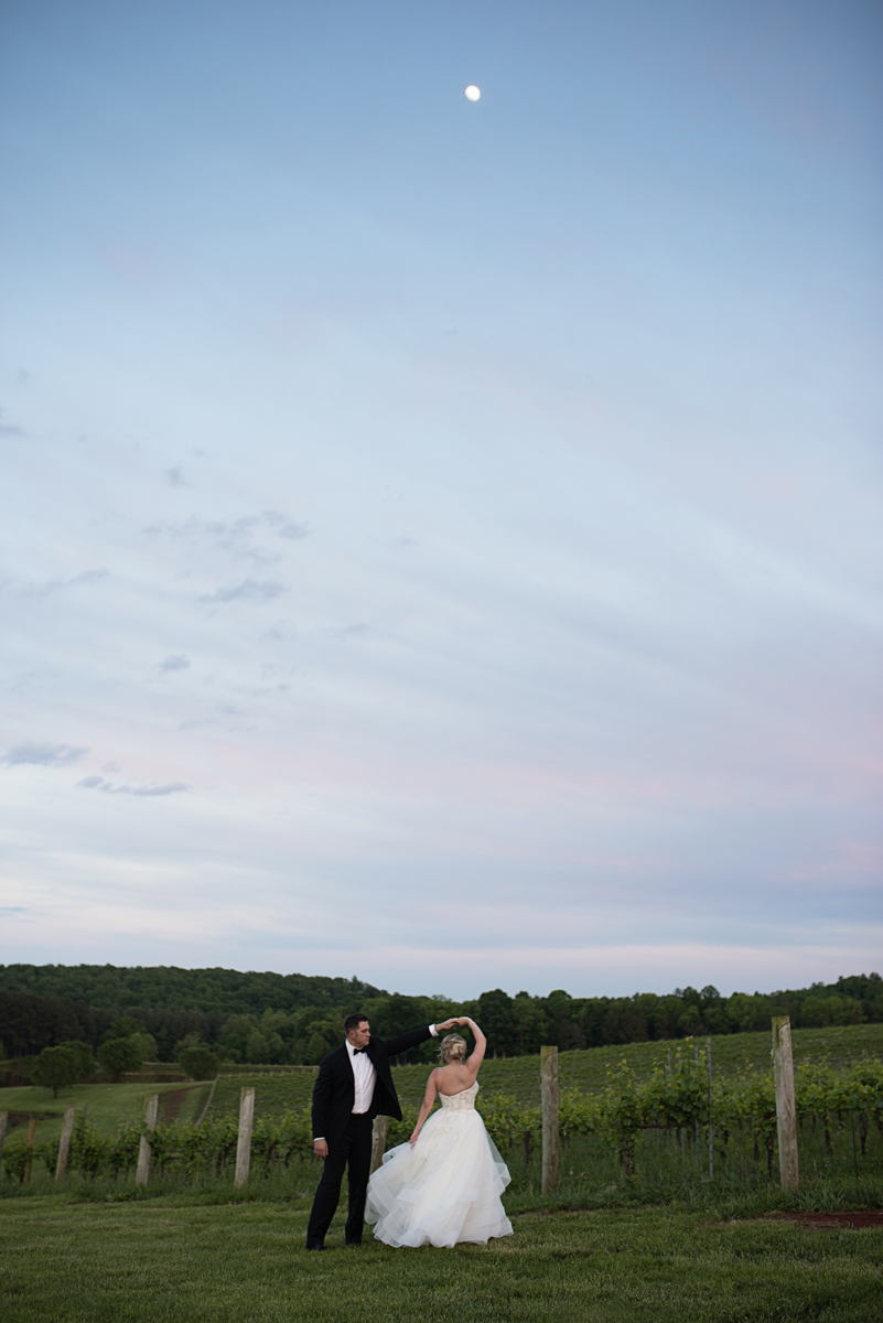 Albemarle Estate at Trump Winery Wedding   Bride and Groom Portrait under the moon