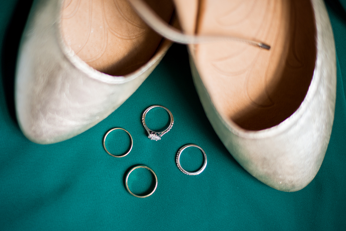 Emerald Green Classic Country Club Wedding | Gold Ballet Flat Wedding Ring Shot