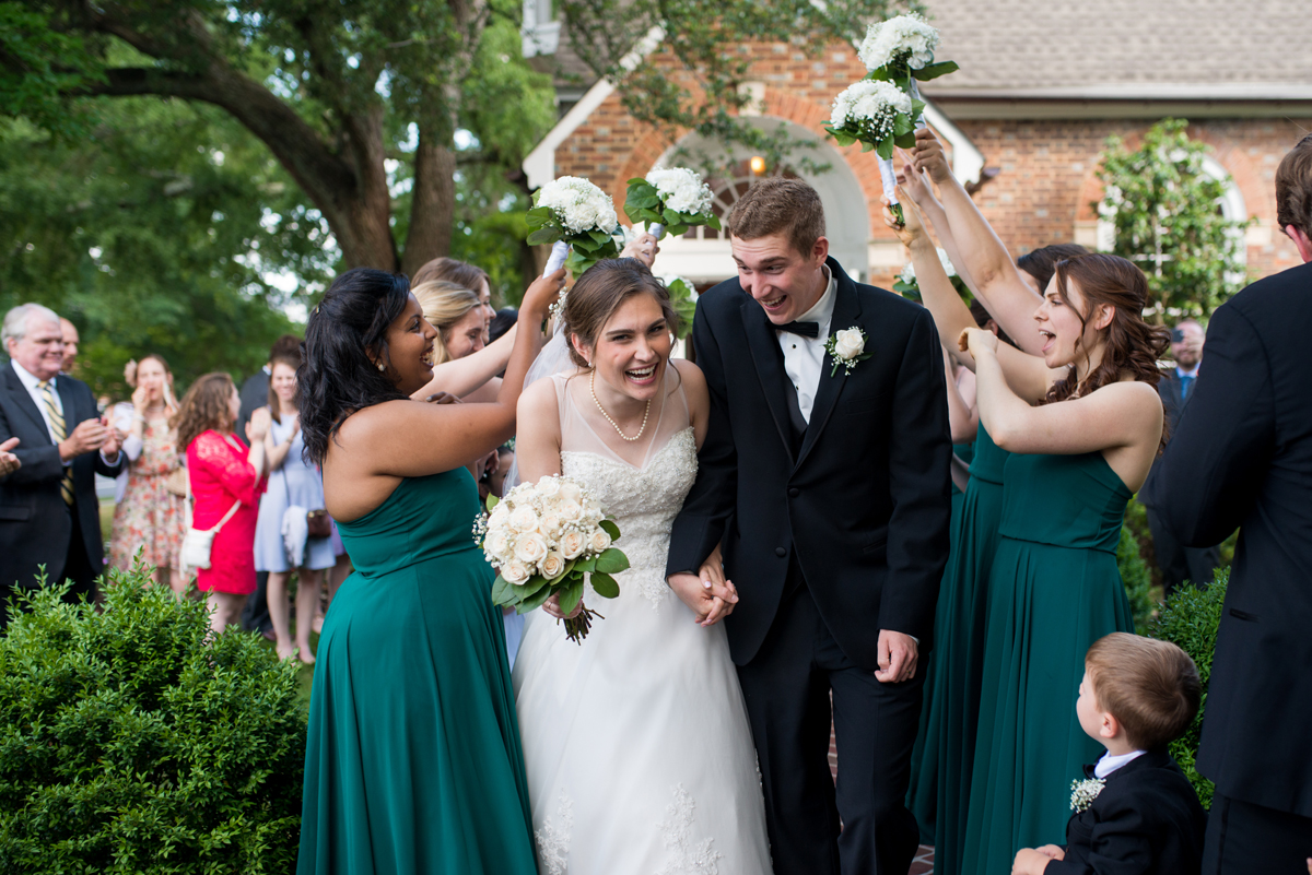 Emerald Green Classic Country Club Wedding | Bride and Groom Ceremony Exit