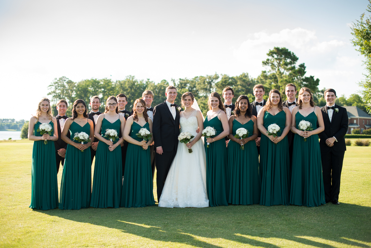 Emerald Green Classic Country Club Wedding | Bridal Party Portraits