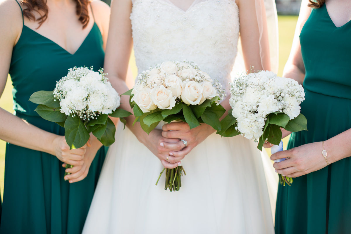 Emerald Green Classic Country Club Wedding | Carnation, Rose, and Baby's Breath Bouquets
