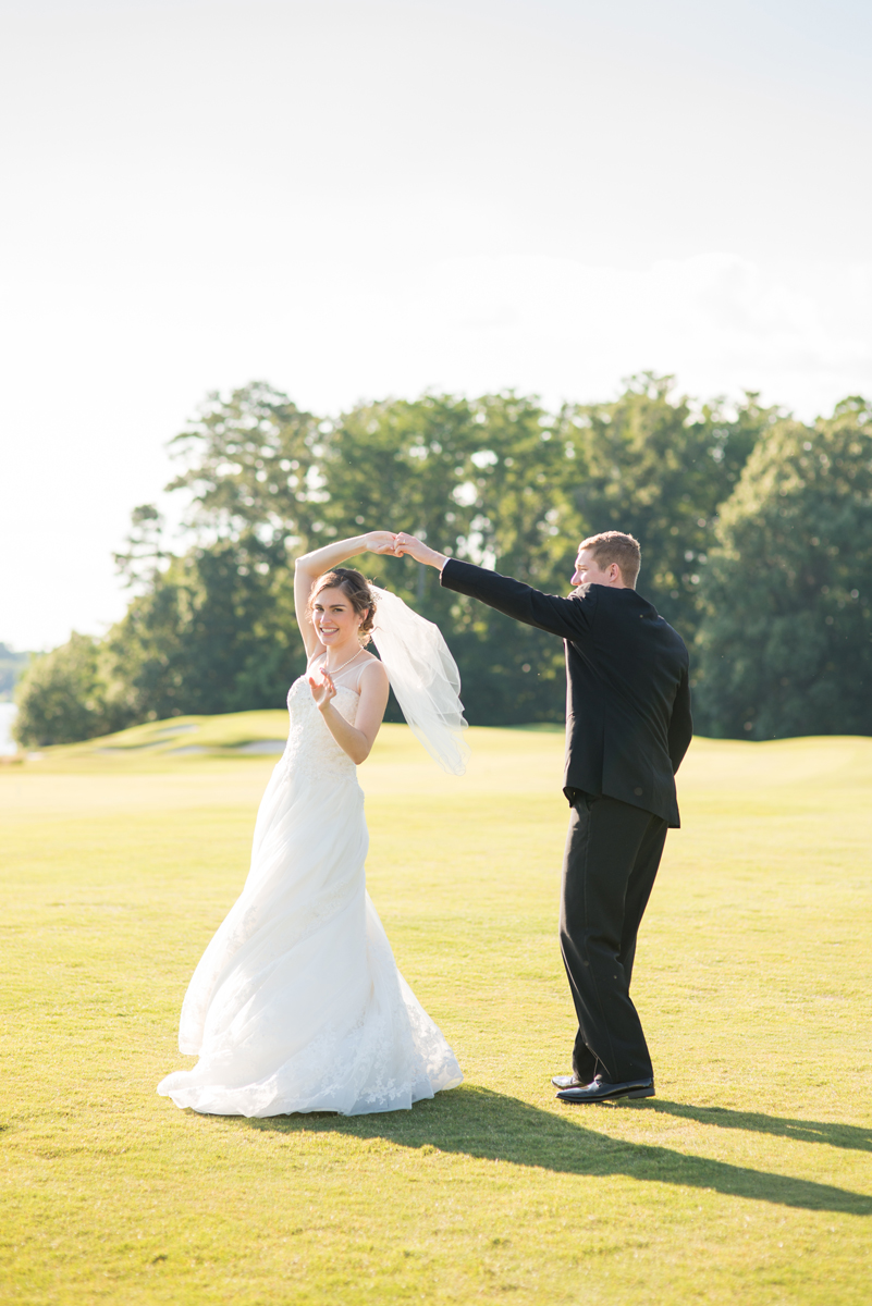 Emerald Green Classic Country Club Wedding | Bride and Groom Portraits