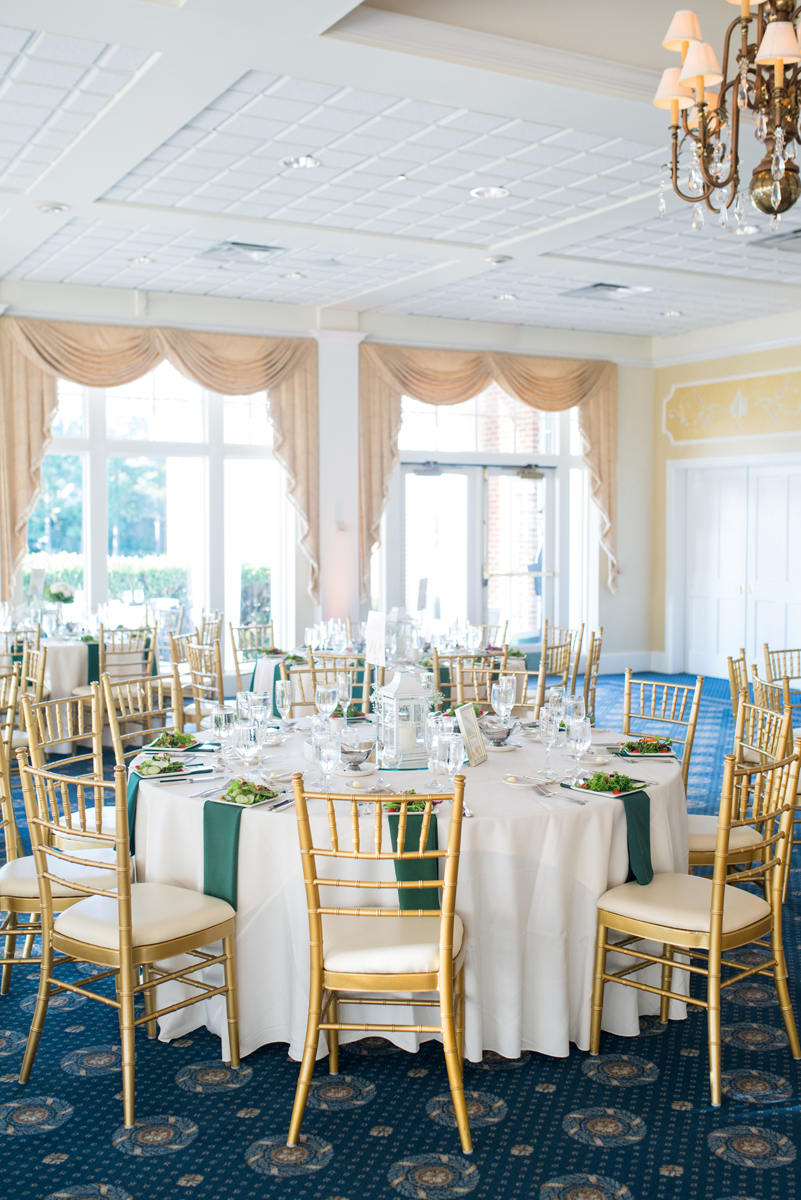 Emerald Green Classic Country Club Wedding | Emerald Green, Gold, and White Reception