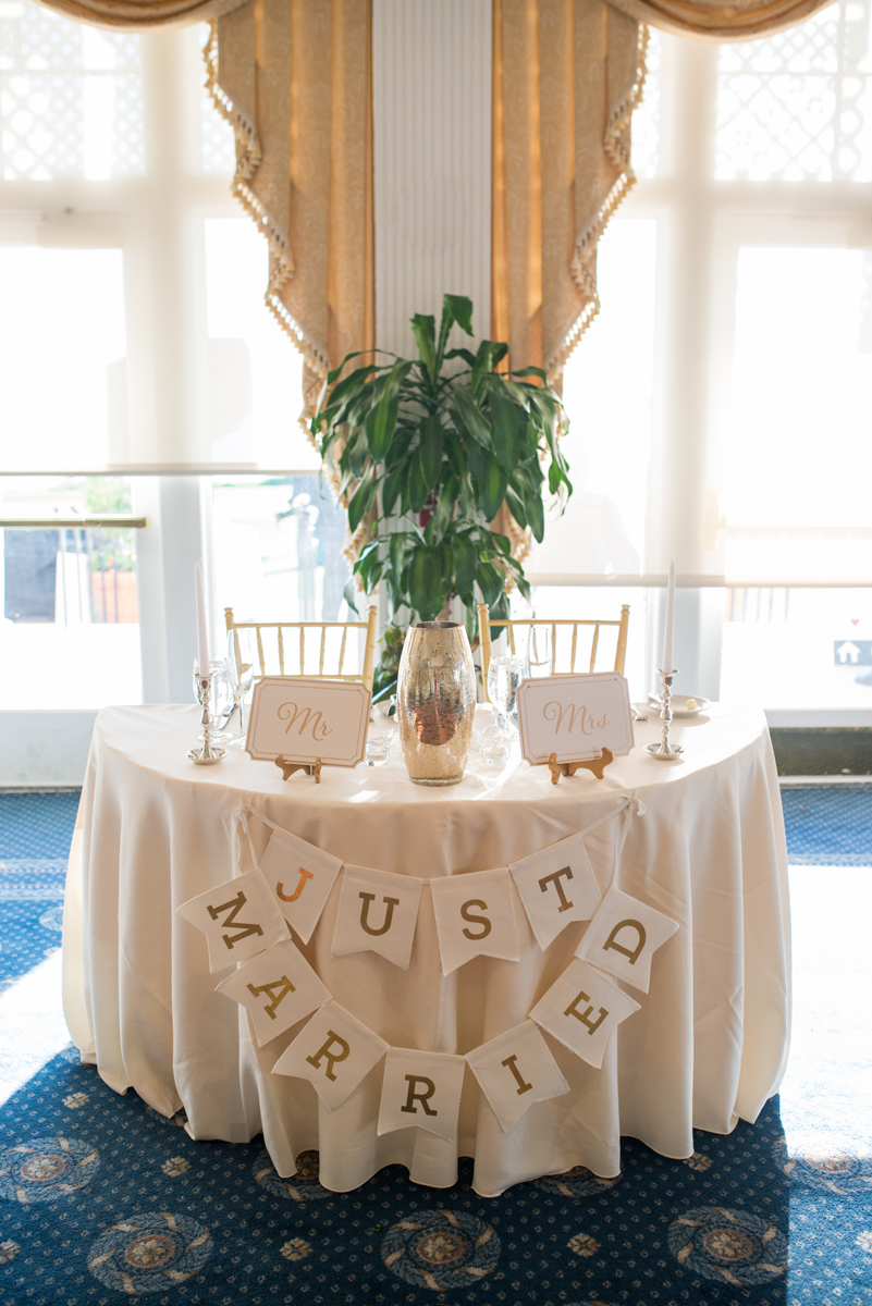 Emerald Green Classic Country Club Wedding | Bride and Groom Just Married Sweetheart Table