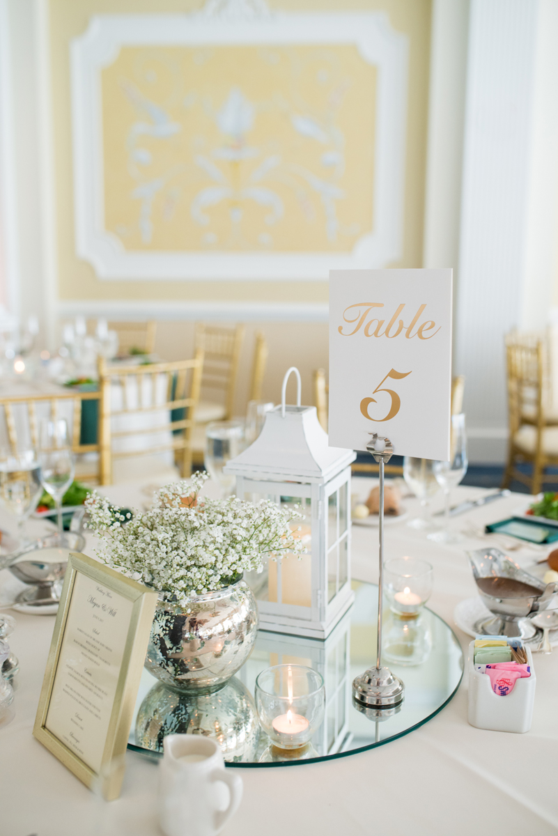 Emerald Green Classic Country Club Wedding | White Lantern and Baby's Breath Reception Centerpiece