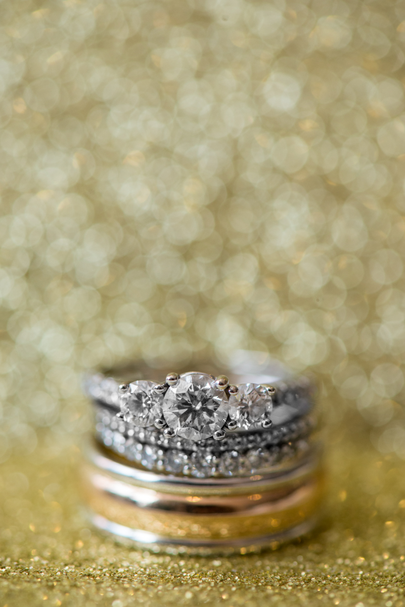 Sparkly Gold and White Fall Wedding | Sparkly Gold Ring Shot