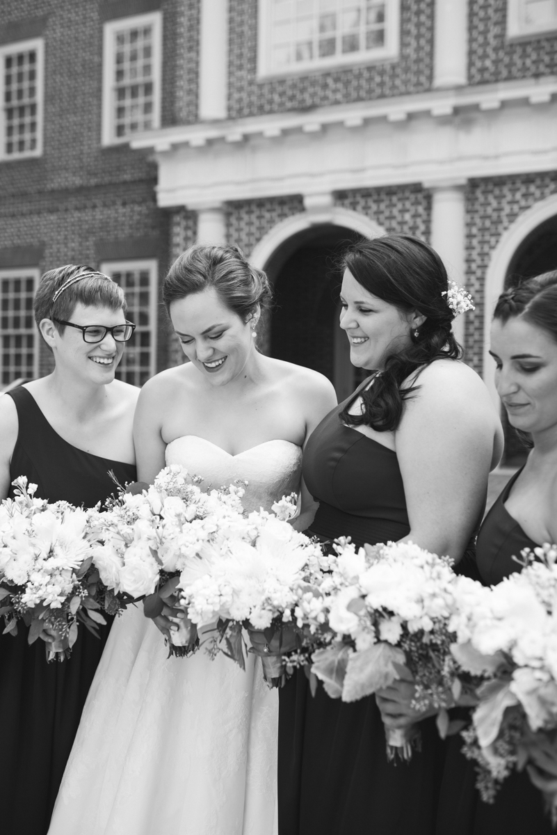 Sparkly Gold and White Fall Wedding | Bridal Party Portraits