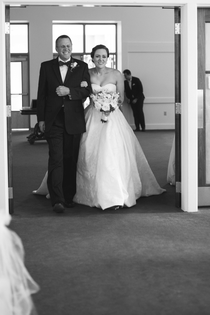 Sparkly Gold and White Fall Wedding |  Bride walking down aisle with her dad