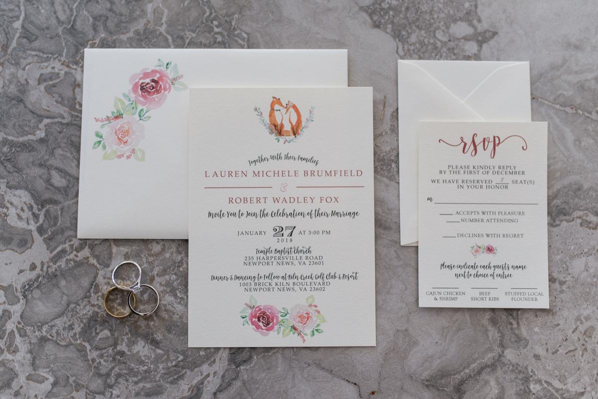 Burgundy and Blush Winter Wedding | Custom Floral Wedding Invitations