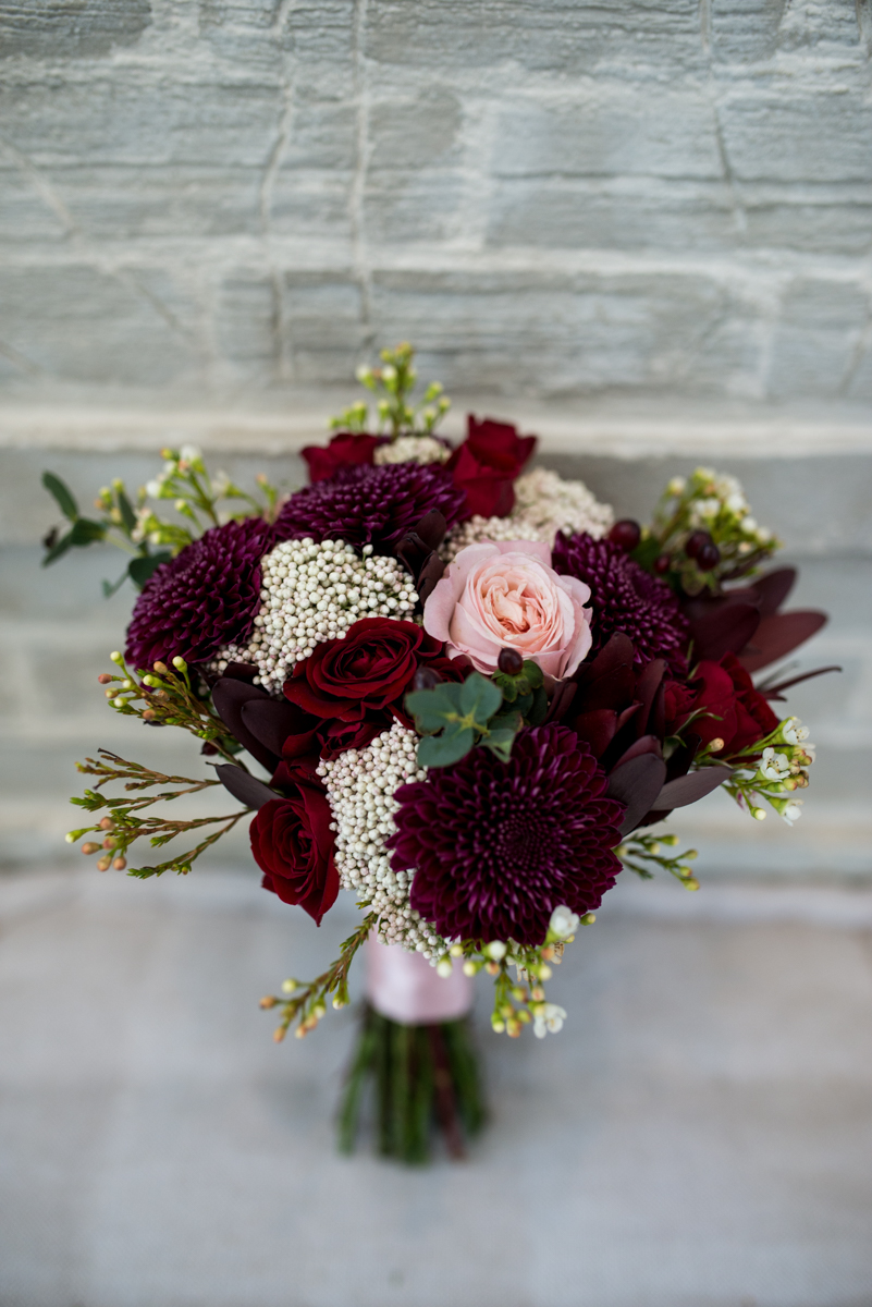 Burgundy and Blush Winter Wedding | Burgundy and Blush Bridal Bouquet