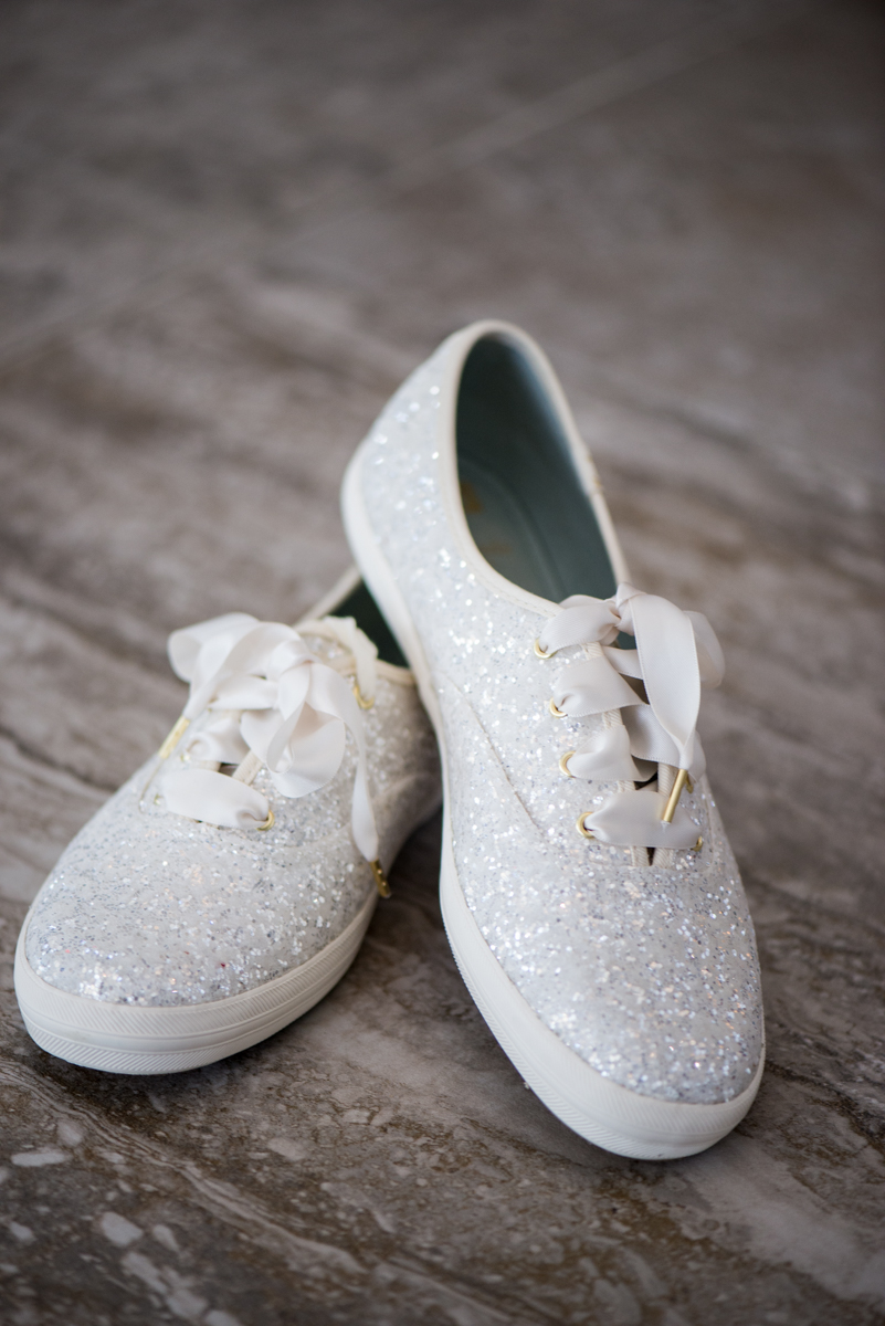 Burgundy and Blush Winter Wedding | Sparkly Kate Spade Wedding Sneakers