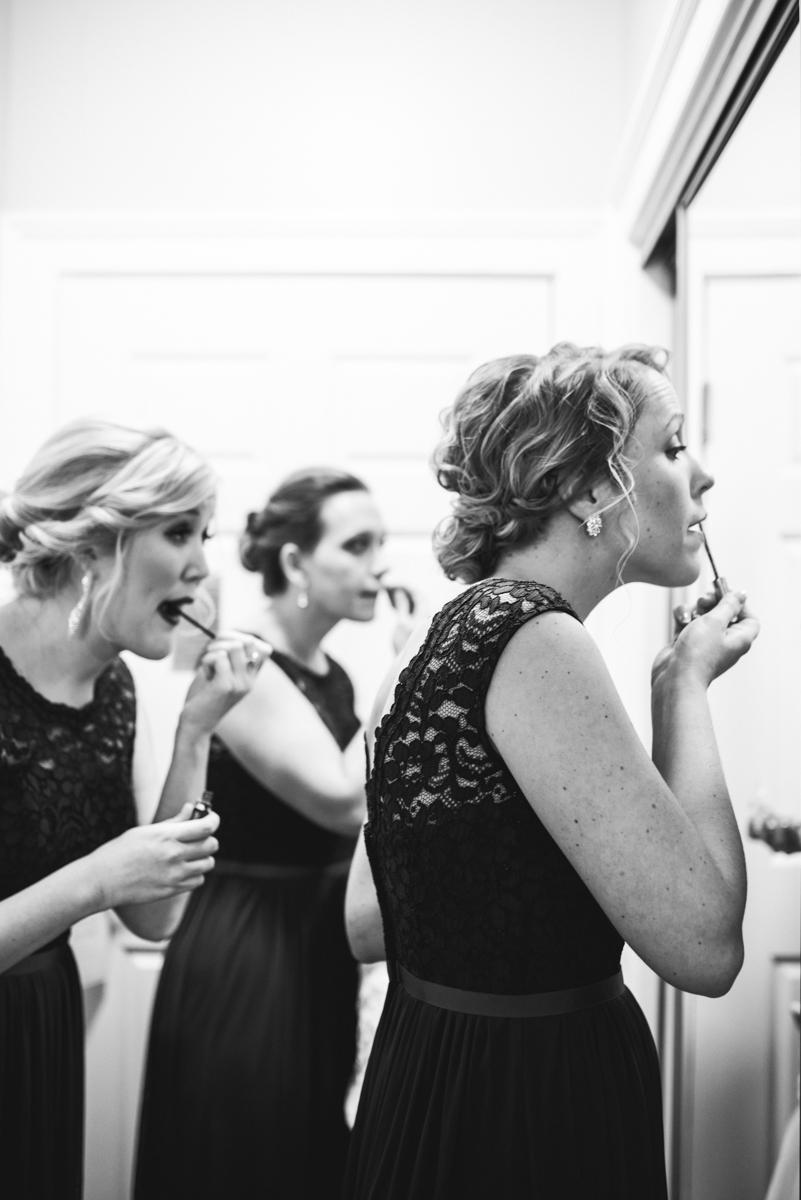 Burgundy and Blush Winter Wedding | Bridesmaids getting ready