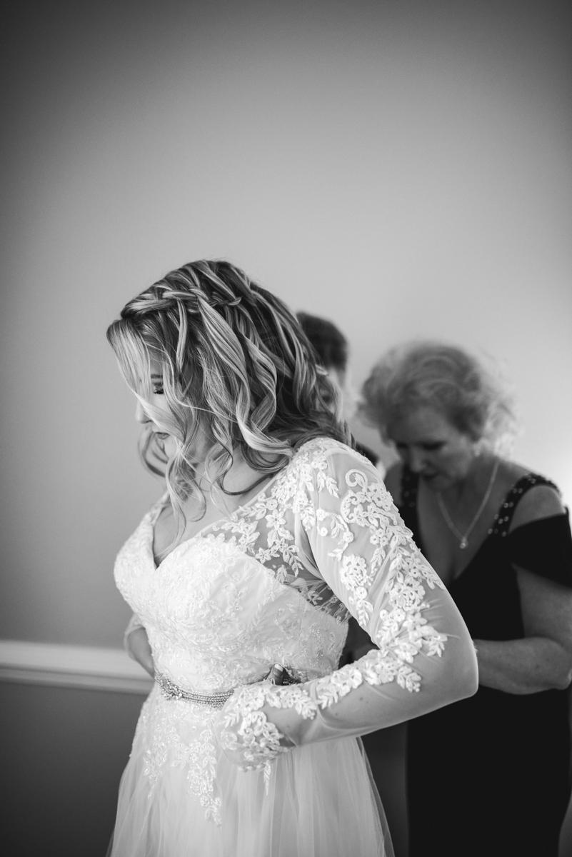 Burgundy and Blush Winter Wedding | Bride getting ready