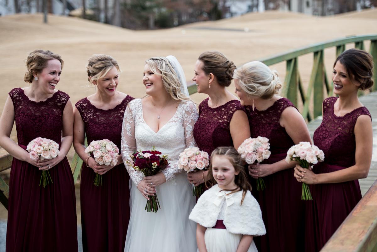 Burgundy and Blush Winter Wedding | Burgundy Bridesmaid Dresses