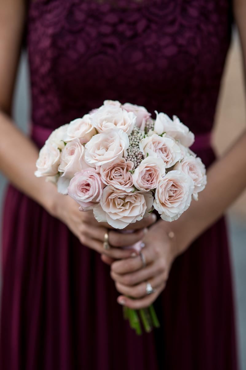 Burgundy and Blush Winter Wedding | Blush bridesmaids bouquet